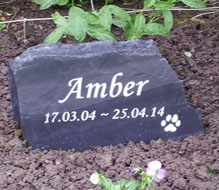 slate headstone for amber cat