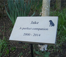 marble memorial for dog with metal stand